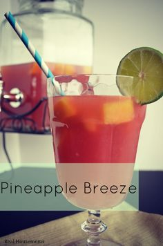 Pineapple Breeze ~ This fruity drink of pineapple rum, cranberry juice and orange juice is so refreshing and perfect for your summertime happy hour.  #drinks #cocktails #drinkrecipes