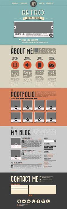 Retro Portfolio PSD Template #photoshop #templates #free