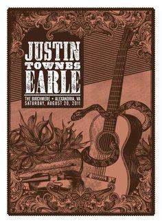 Justin Townes Earle - Alexandria, VA 2011 | Design: Status Serigraph
