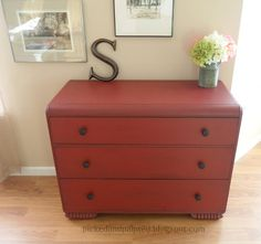 I used homemade chalk paint (1 cup latex paint to 1/4 cup baking soda) with these dressers. If you use homemade chalk paint you need to lightly sand with 220 grit before you glaze or wax. The color completely changes after you sand...yes, it's normal.....no, don't panic! Use a damp rag to wipe off the dust and the red will re-appear!         On these pieces I used Posh Red, glazed, and waxed.   I added new black iron pulls from Hobby Lobby.