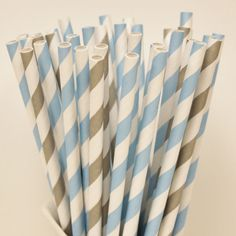 Paper Straws, 30 Cinderella Party Striped Paper Drinking Straws with Diy Flags, Disney Princess, Cinderella Princess Party, Girls Birthday