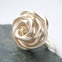 Knitted rose ring.