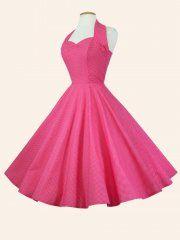 1950s Halterneck Pink White Dot Dress