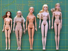 Doll body comparison photo - Momoko - 1/ 6 scale female figure - Barbie Belly Button - Fashion Royalty Imogen - FR2