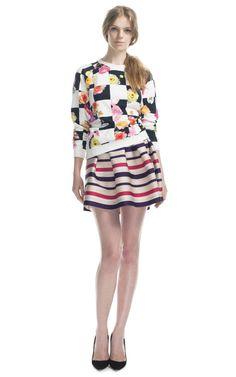 MSGM Resort 2013, floral sweatshirt, stripe skirt