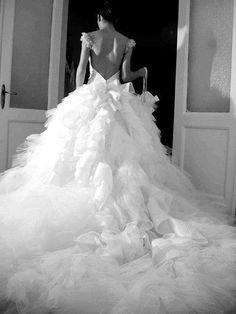 fluffy open back wedding dress
