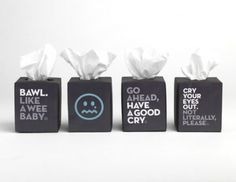 The Breakup Store Tissues - LOVE the concept, they should sell these in book stores next to all the break up books...