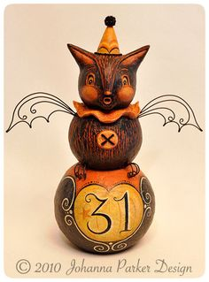 Halloween folk art bat on a ball by Johanna Parker