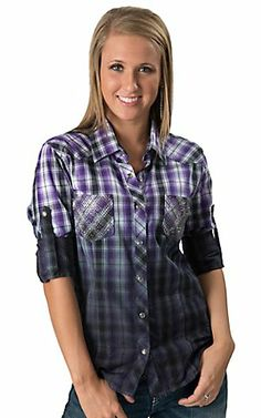 Rock & Roll Cowgirl Women's Purple, Black and White Ombre Plaid with Rhinestuds Long Sleeve Western Shirt | Cavender's