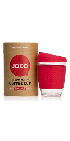 Great stocking stuffer: JOCO Glass Reusable Coffee Cup in Red from Well.ca - Free Shipping