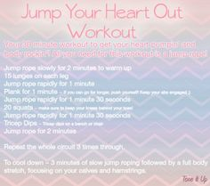 The Jump Your Heart Out Workout will get your heart rate going and tones your entire body in just 30 minutes! From www.toneitup.com