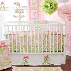 crib bedding, girl room, baby bedding, polka dot, green wall, girl nurseries, bedding sets, baby cribs, babies rooms