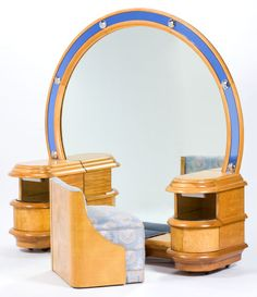AMERICAN ART DECO BURL WALNUT LIGHTED MIRROR VANITY AND UPHOLSTERED STOOL   Circa 1935