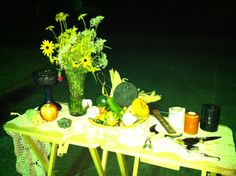 Mabon [Autumn Equinox] - harvest fruits and vegetables [some from garden, some purchased] wild flower bouquet, candles: orange = harvest, white & black = balance #pagan #wiccan