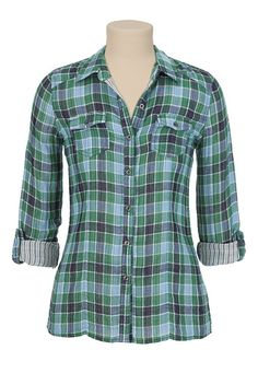 Double Print Plaid Shirt available at #Maurices