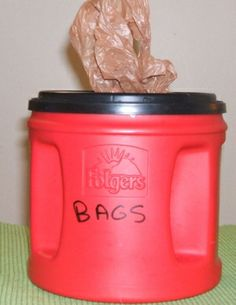 The Coffee Can Grocery Bag Holder groceri bag, grocery bags, coffee cans, grocery bag holder