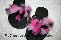 Embellished Flip Flops: Tulle-embellished flip flops; could also try water balloons!