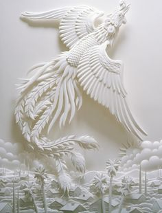 Phoenix paper sculpture / http://www.jeffnishinaka.com bird, paper art, phoenix paper, papers, awesom artistri, paper sculptures