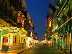 favorit place, bourbon street, new orleans, flags, bachelorette parties, night lights, louisiana, french quarter, bright lights