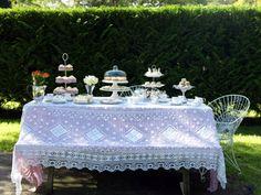 Tea Party dessert tables, food display, buffet tables, tea parti, teaparti, bridal shower tea, garden tea, tea party decorations, bridal showers