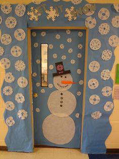 Classroom door in January classroom door, winter door