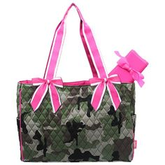 Camo Quilted W/white Stripe Diaper Bag-hotpink.