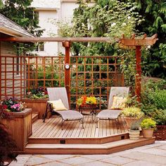 Patio deck with climbing trellis privacy screen and pergola details