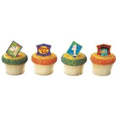 Cupcake toppers and rings phineas and ferb!!