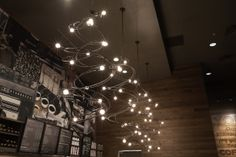 """The artist who created the unique chandeliers at this store just outside of Chicago, used an """"espresso glaze"""" for her environmentally friendly, corrosive-inhibiting finish coat. wd store, the artist"""