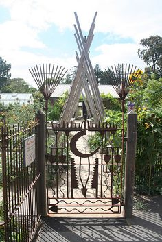 Gate made from old garden tools