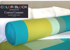 Bolster Pillow cotton, beds, color block, queens, colors, couture, queen bolster, bolster pillow, pillows