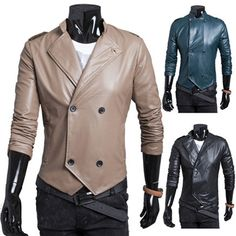 Designer Cut Double Breasted Mens Leather Jacket | Sneak Outfitters