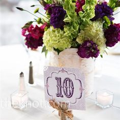 Love these colors and the variety of flowers - cute table numbers for wedding dinner