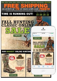 "This email from Bass Pro Shops contained multiple images, each optimized for enhanced viewing on desktops, smartphones, and tablets. In the mobile version, the ""Shop All"" call-to-action button was enlarged and moved to the top of the email. Also, a countdown clock helped create a sense of urgency for the limited-time-only sale. #emailmarketing #mobileoptimization"