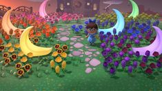 Crescent moon garden leading to my house - AnimalCrossing