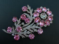 Signed Eisenberg Original  pink floral brooch
