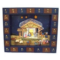 Kurt Adler Wooden Nativity Advent Calendar with 24 Magnetic Figures