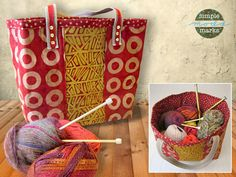 Big Bold Bag for Knitting & More in Simple Marks by Moda Fabrics | Sew4Home