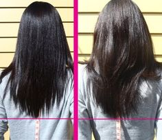 """My hair January 2010 vs. March 2010... went from about 9.5"""" to 10.5"""" on my tape measure."""