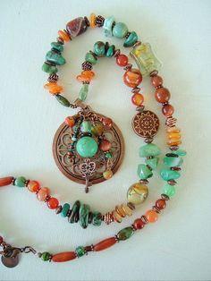 Boho Necklace, Southwest Necklace, Bohemian Style, Turquoise Jewelry, Art Jewelry via Etsy