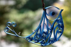 Blue bird paper quilled perfect for any christmas tree.