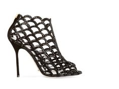 Black Crystal Mermaid Bootie A09270 Sandals italian shoes designer Sergio Rossi