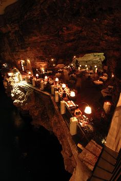 Dining in a cave in Italy.