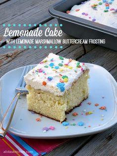 An easy recipe for Lemonade Cake with Lemonade Marshmallow Buttercream Frosting