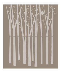 birch tree mural for bedroom