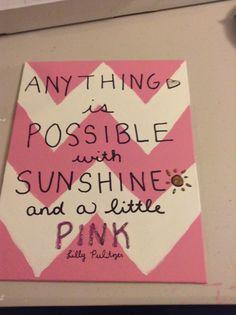 Lilly Pulitzer quote - canvas, pink, chevron, DIY, glitter