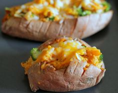 {Broccoli and Cheese Twice Baked Sweet Potatoes}