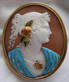 """Hera,"" carnelian shell, c. 1840 Italy.Stunning cameo!"