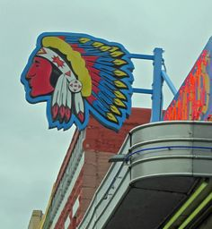 The rocking neon Indian head above Maisel's Indian Craft and Jewelry in downtown Albuquerque.