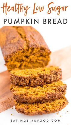 Sweetened only with maple syrup, this delicious healthy low sugar pumpkin bread is made with whole wheat flour and it's vegan! Have you tried this pumpkin bread? Comment and review if you have! #vegan #lowsugar #pumpkinbread #eatingbirdfood